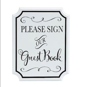White guest book sign